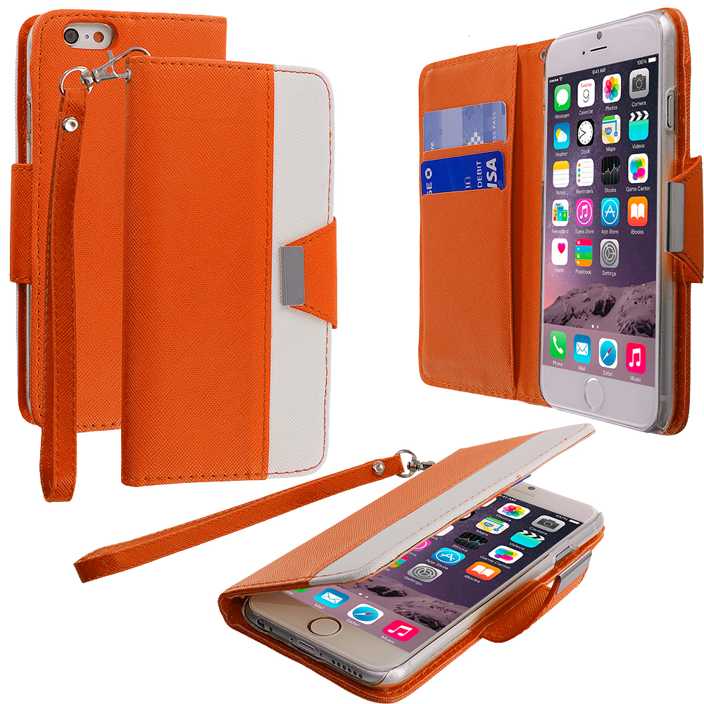 Apple iPhone 6 Plus 6S Plus (5.5) Orange Wallet Magnetic Metal Flap Case Cover With Card Slots