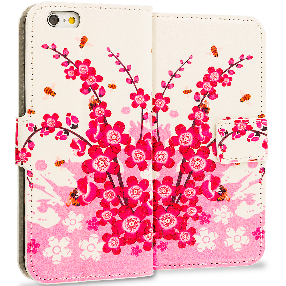 Apple iPhone 6 Plus 6S Plus (5.5) Spring Flowers Leather Wallet Pouch Case Cover with Slots