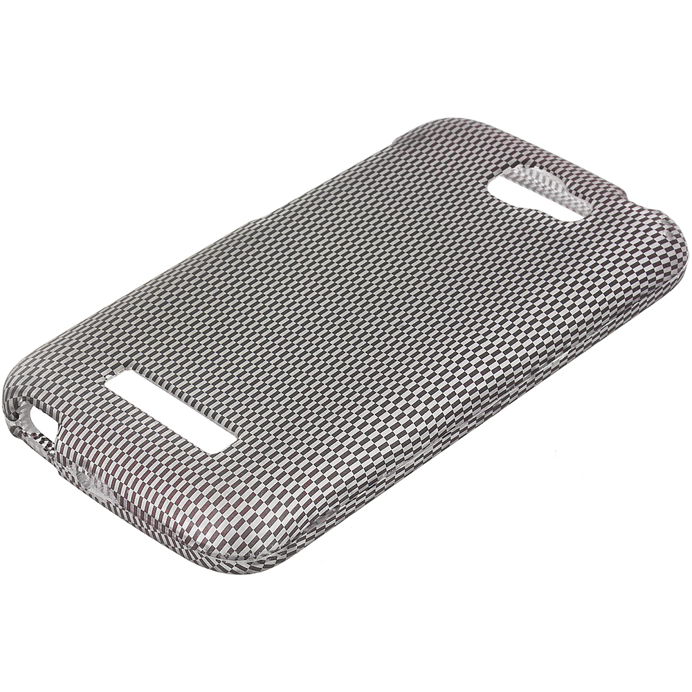 Alcatel One Touch Fierce 2 7040T Carbon Fiber 2D Hard Rubberized Design Case Cover