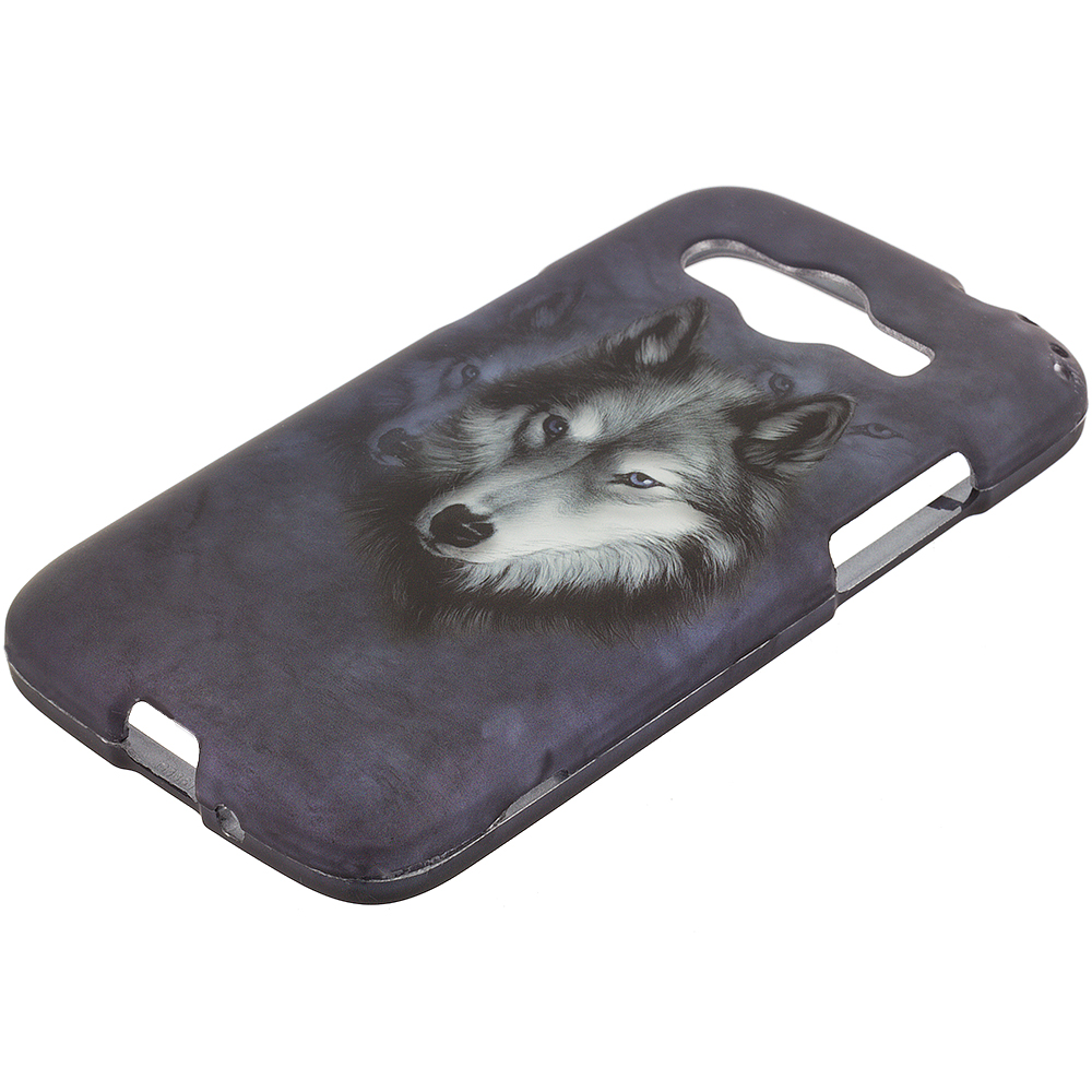 Samsung Galaxy Avant G386 Wolf 2D Hard Rubberized Design Case Cover