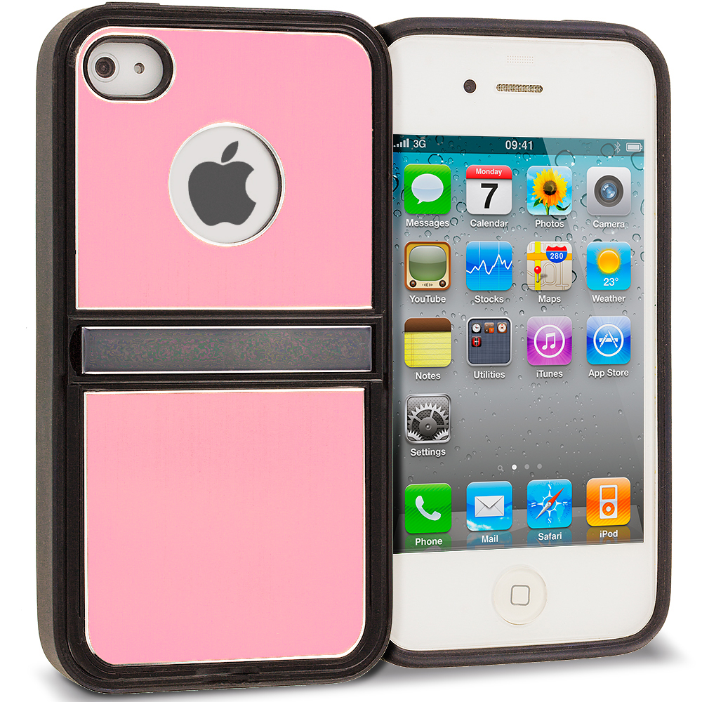 Apple iPhone 4 / 4S Pink Brushed Stand Aluminum Metal Hard Case Cover
