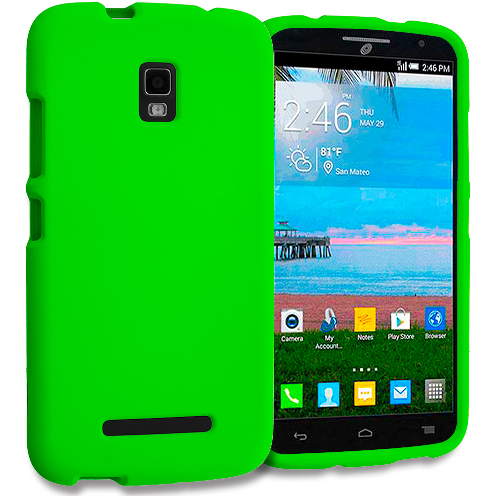 Alcatel One Touch Pop Mega A995L Neon Green Hard Rubberized Case Cover