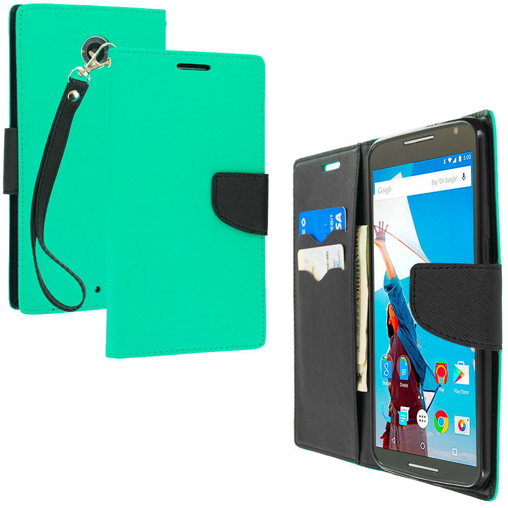 Motorola Google Nexus 6 Mint Green / Black Leather Flip Wallet Pouch TPU Case Cover with ID Card Slots