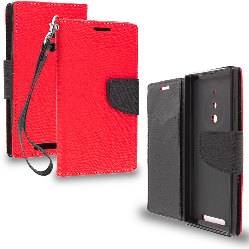 Nokia Lumia 830 Red / Black Leather Flip Wallet Pouch TPU Case Cover with ID Card Slots
