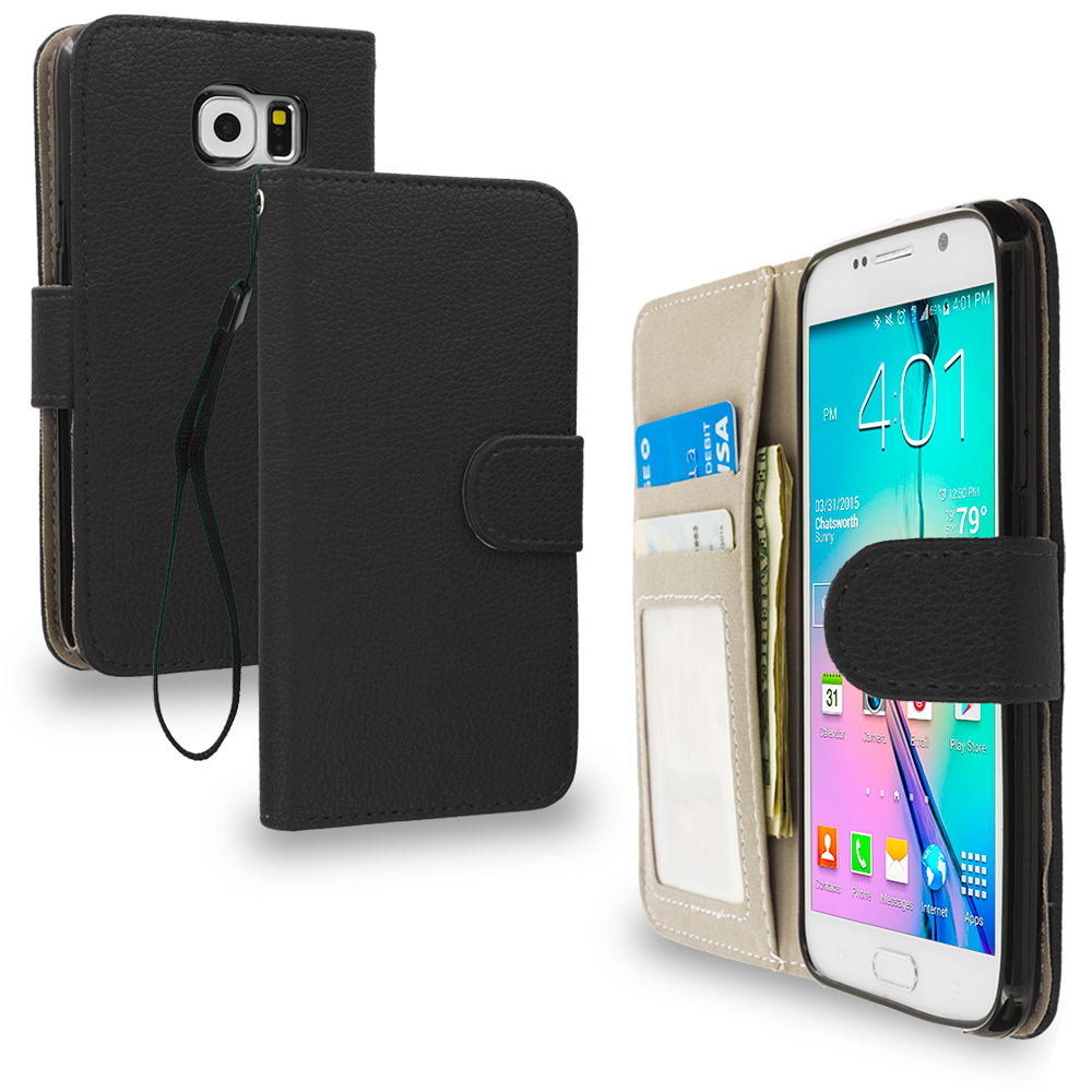 Samsung Galaxy S6 2 in 1 Combo Bundle Pack - Leather Wallet Pouch Case Cover with Slots : Color Black