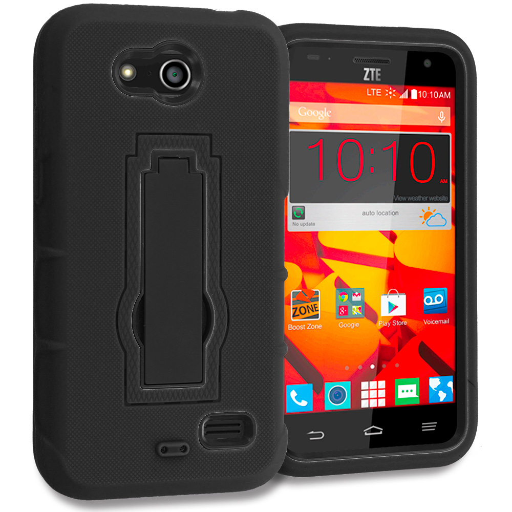 ZTE Speed N9130 Black / Black Hybrid Heavy Duty Hard Soft Case Cover with Kickstand