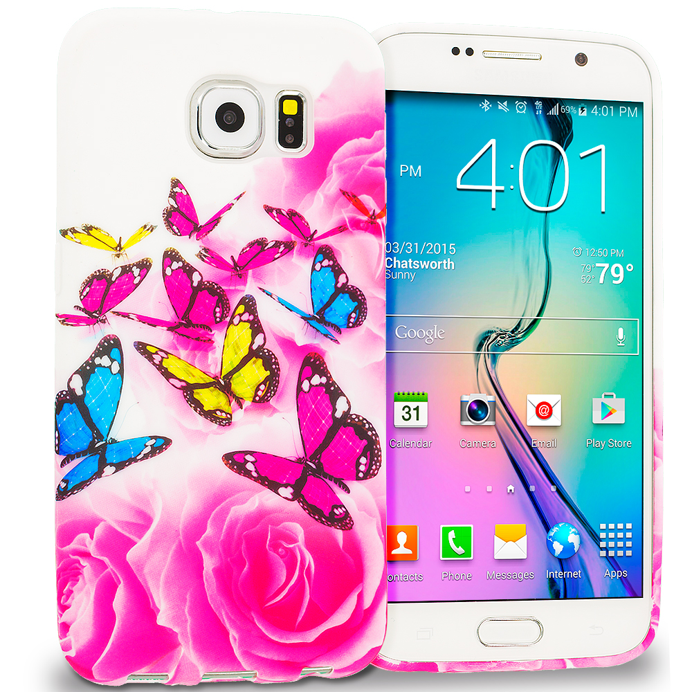 Samsung Galaxy S6 Pink Colorful Butterfly TPU Design Soft Rubber Case Cover