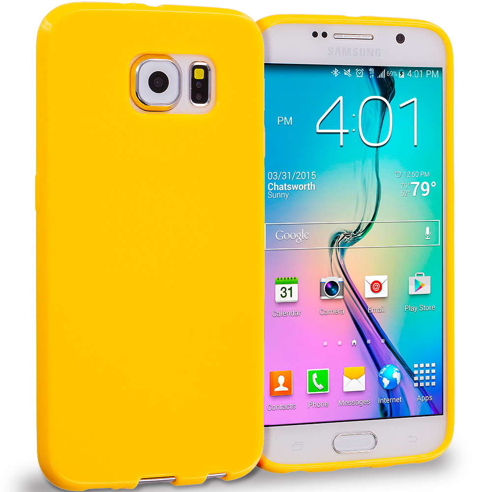 Samsung Galaxy S6 Yellow Solid TPU Rubber Skin Case Cover