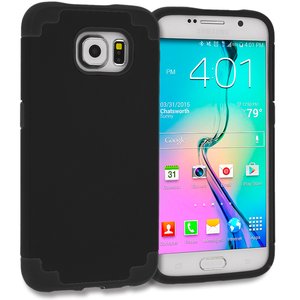 Samsung Galaxy S6 Black Hybrid Slim Hard Soft Rubber Impact Protector Case Cover