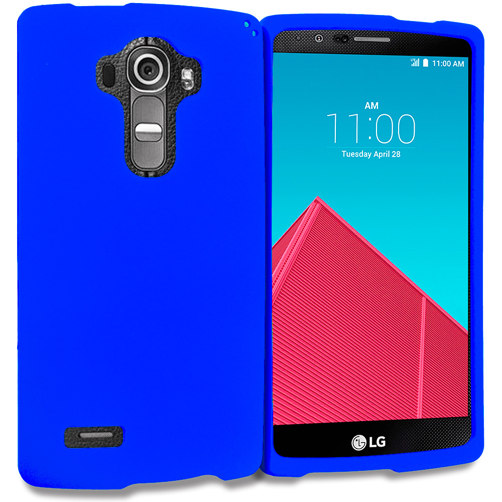 LG G4 Blue Hard Rubberized Case Cover