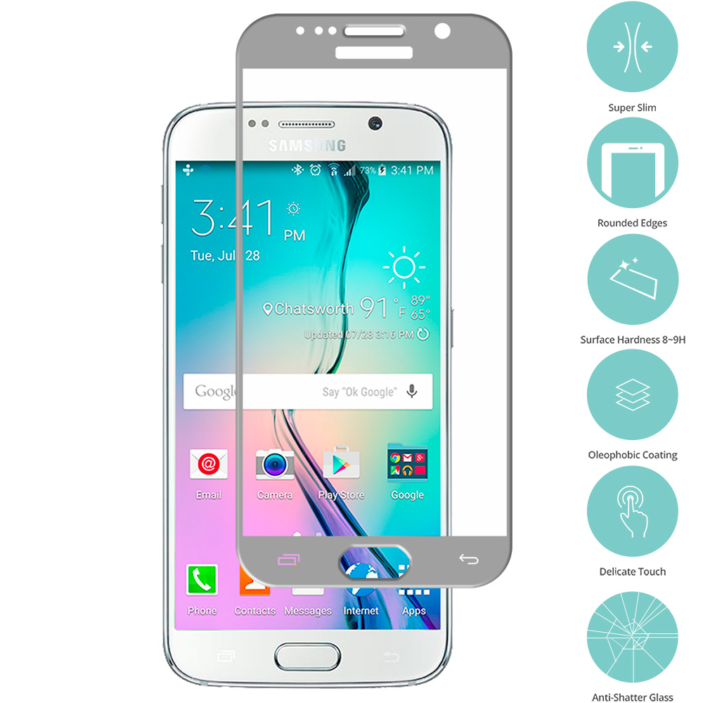 Samsung Galaxy S6 Gray Tempered Glass Film Screen Protector Colored