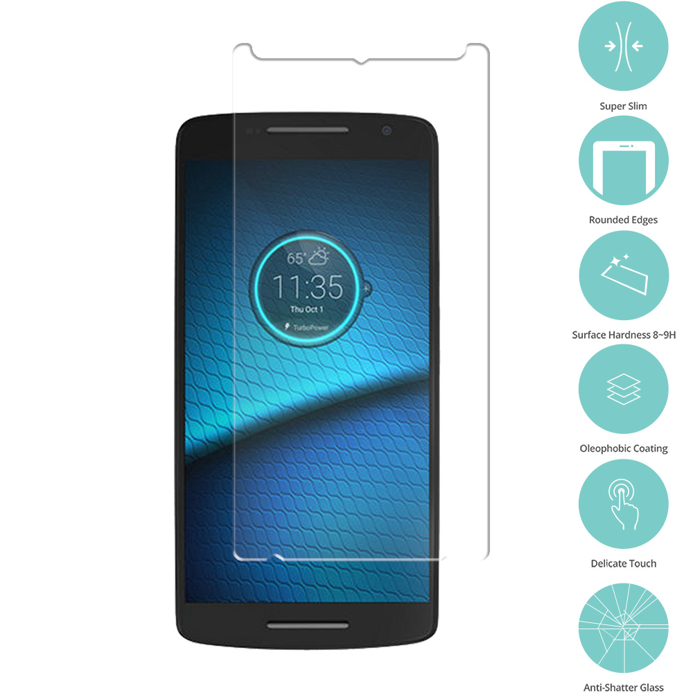 Motorola Droid Maxx 2 XT1565 Clear Tempered Glass Film Screen Protector Clear