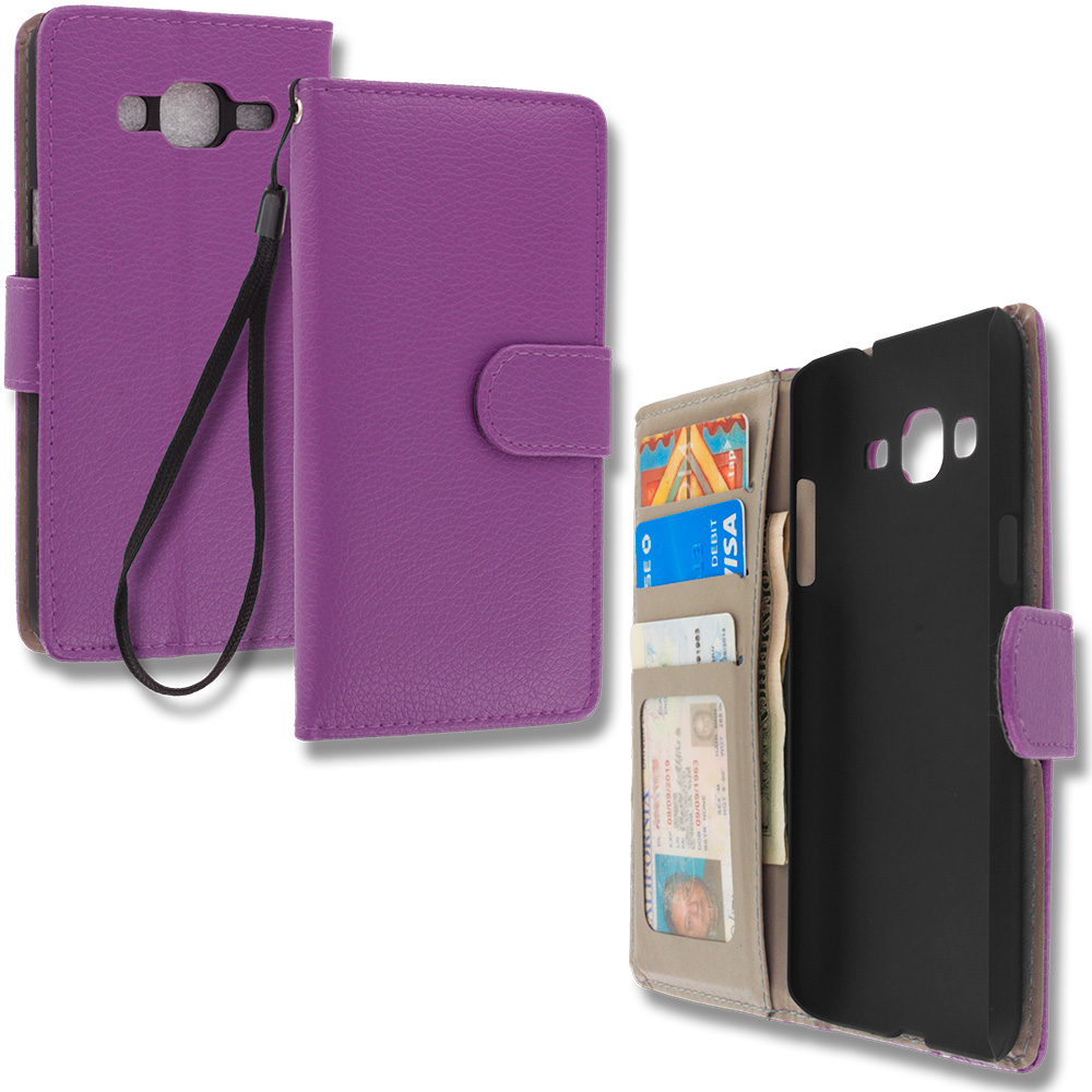 Samsung Galaxy J3 Purple Leather Wallet Pouch Case Cover with Slots