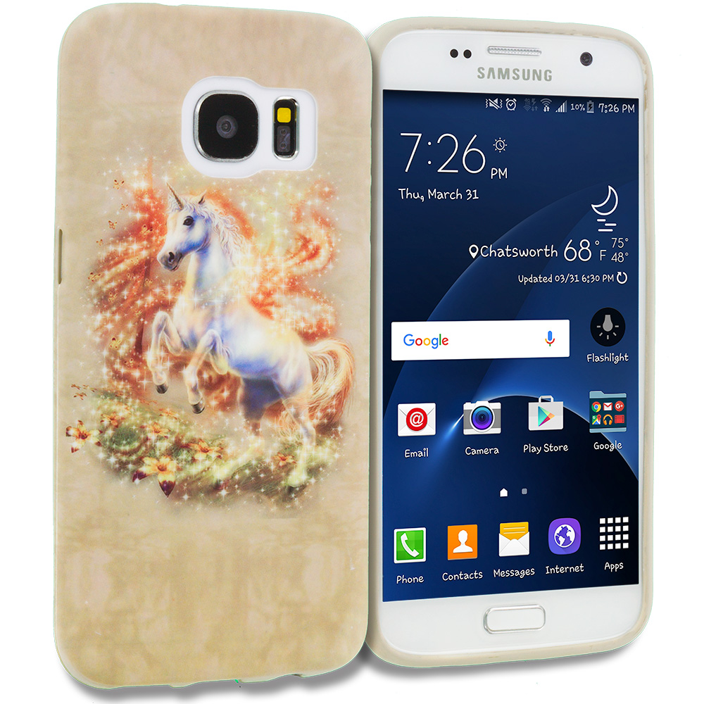 Samsung Galaxy S7 Combo Pack : Horse TPU Design Soft Rubber Case Cover : Color Unicorn