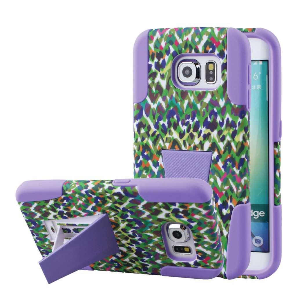Samsung Galaxy S6 Edge - Purple Rainbow Leopard MPERO IMPACT X - Stand Case