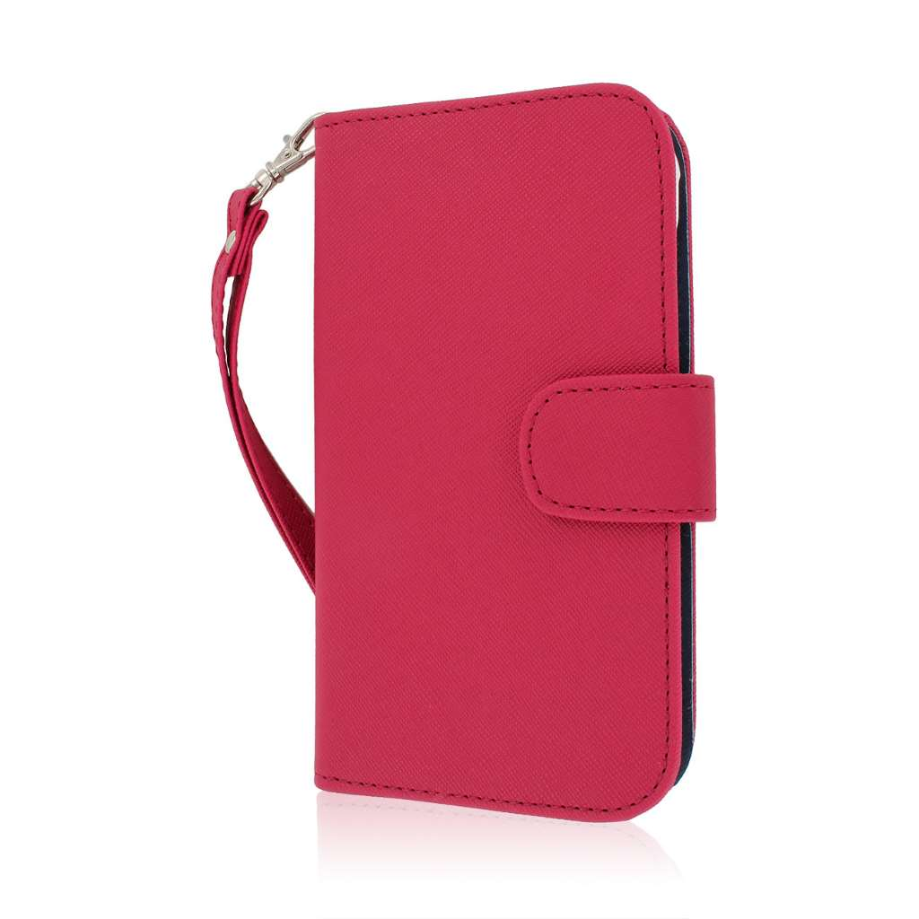 Samsung Galaxy S5 Active - Hot Pink MPERO FLEX FLIP Wallet Case Cover