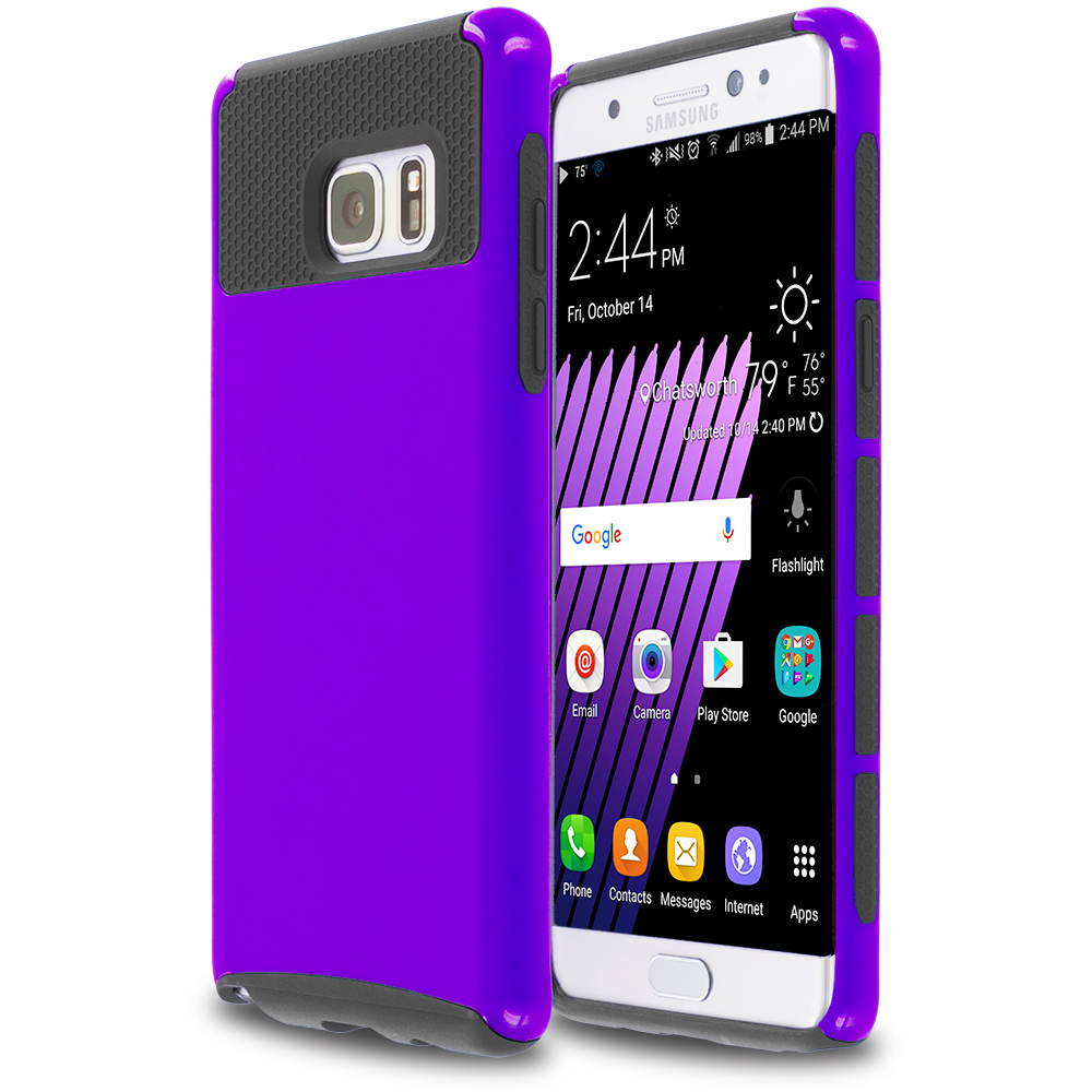 Samsung Galaxy Note 7 Purple / Black Hybrid Hard TPU Honeycomb Rugged Case Cover