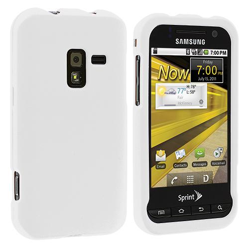 Samsung Conquer 4G D600 White Hard Rubberized Case Cover