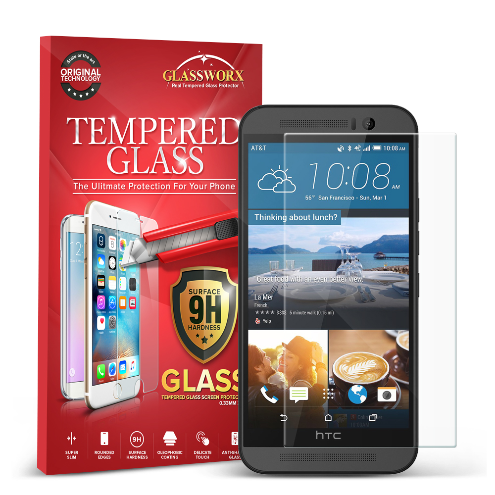 HTC One M9 GlassWorX HD Clear Tempered Glass Screen Protector