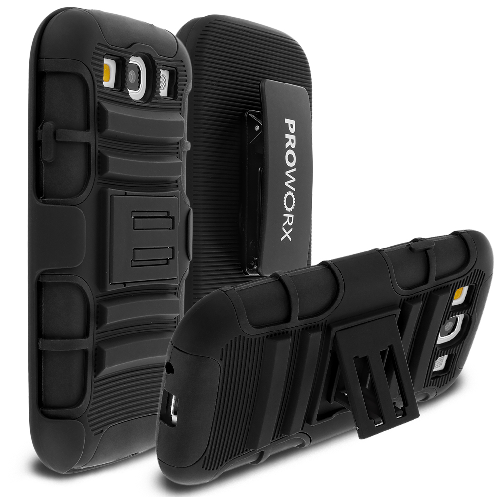 Samsung Galaxy S3 Black ProWorx Heavy Duty Shock Absorption Armor Defender Case Cover With Belt Clip Holster