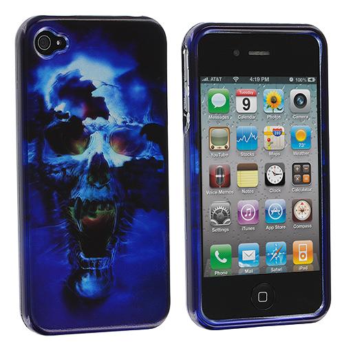 Apple iPhone 4 / 4S Blue Skulls Design Crystal Hard Case Cover