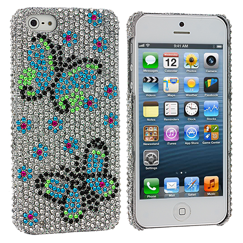Apple iPhone 5/5S/SE Combo Pack : Colorful Hubble Bubble Bling Rhinestone Case Cover : Color Blue Green Butterfly