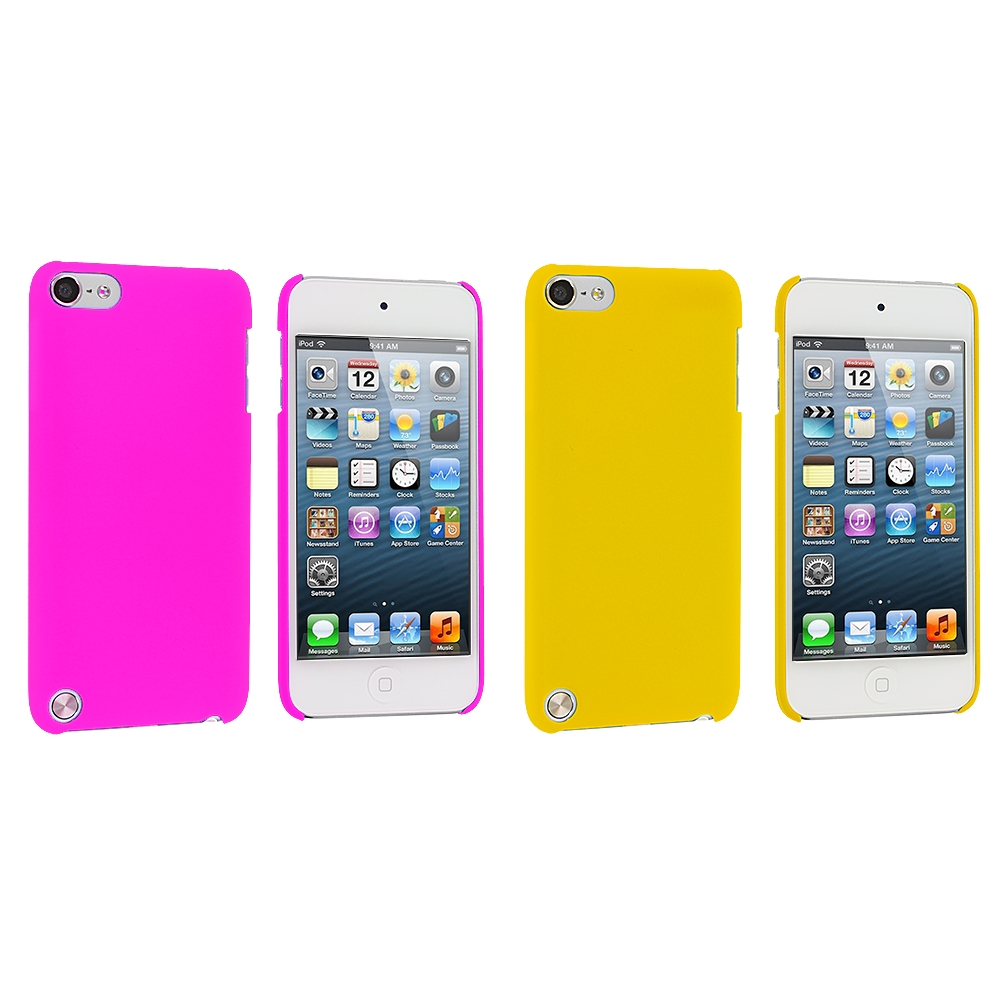 Apple iPod Touch 5th 6th Generation 2 in 1 Combo Bundle Pack - Hot Pink Yellow Hard Rubberized Back Cover Case