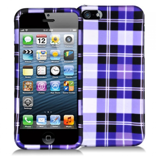 Apple iPhone 5/5S/SE Purple Checkered Hard Rubberized Design Case Cover