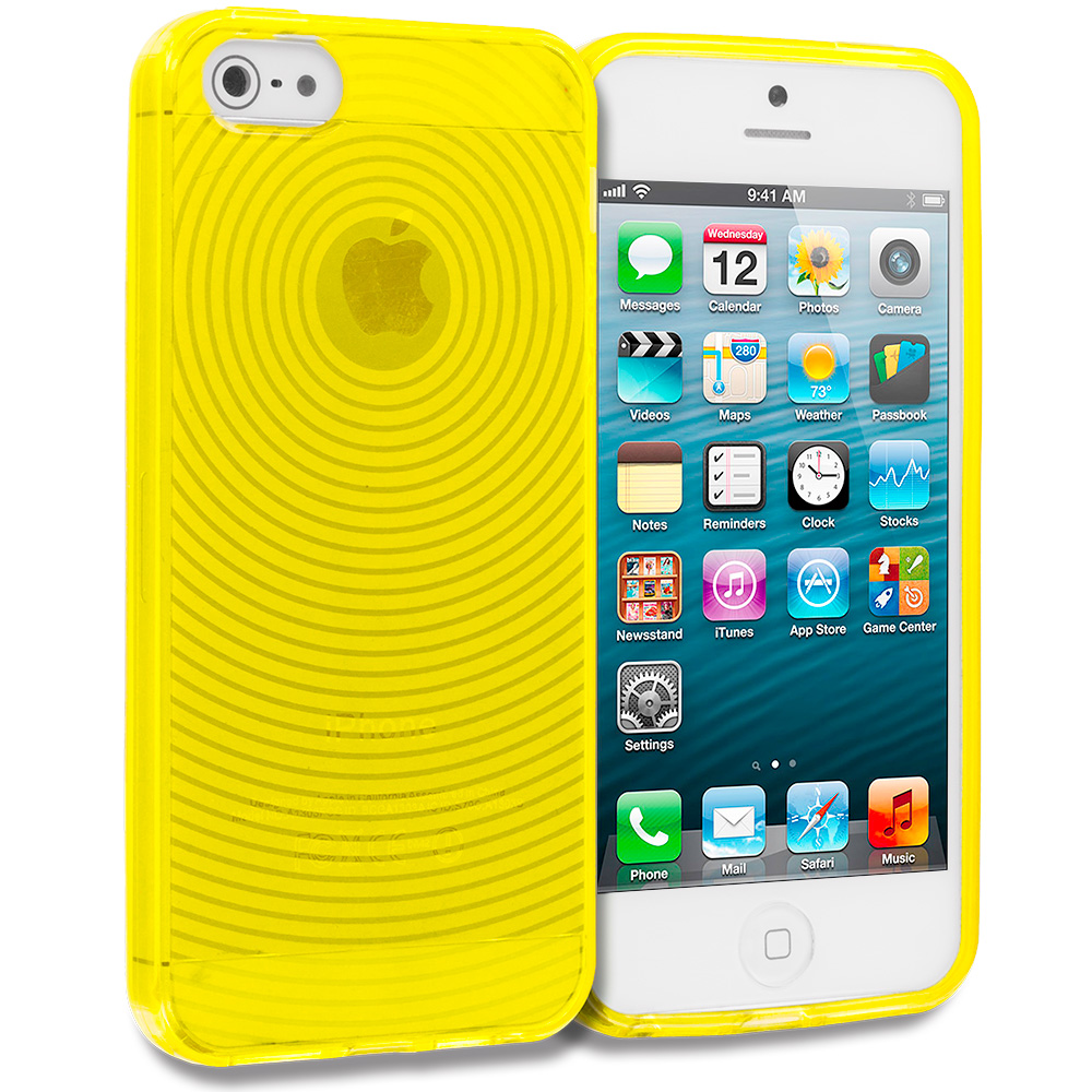 Apple iPhone 5/5S/SE Combo Pack : Hot Pink Fingerprint TPU Rubber Skin Case Cover : Color Yellow Fingerprint