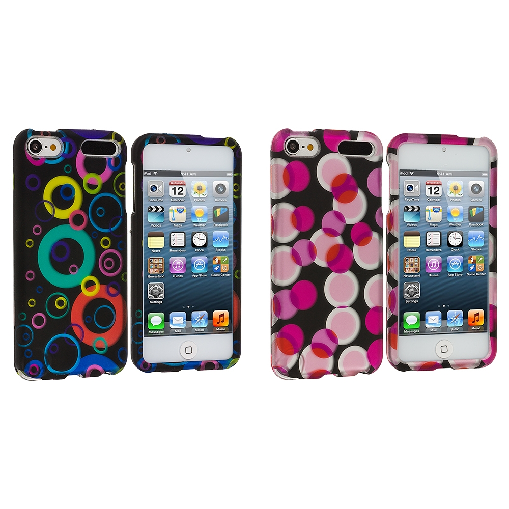 Apple iPod Touch 5th 6th Generation 2 in 1 Combo Bundle Pack - Colorful Bubbles Hard Rubberized Design Case Cover