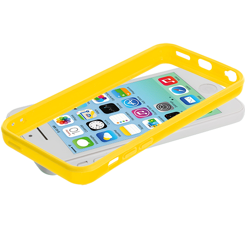Apple iPhone 5C Yellow Solid TPU Bumper with Metal Buttons
