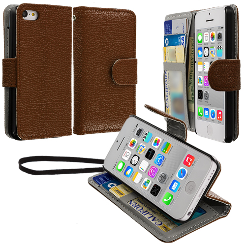 Apple iPhone 5C Brown Leather Wallet Pouch Case Cover with Slots
