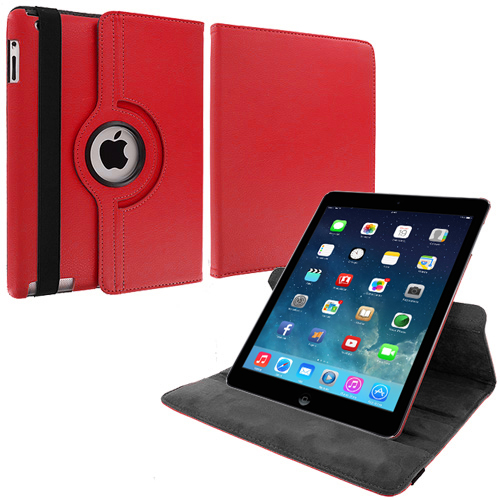 Apple iPad Air Red 360 Rotating Leather Pouch Case Cover Stand