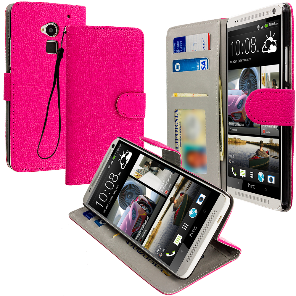 HTC One Max Hot Pink Leather Wallet Pouch Case Cover with Slots