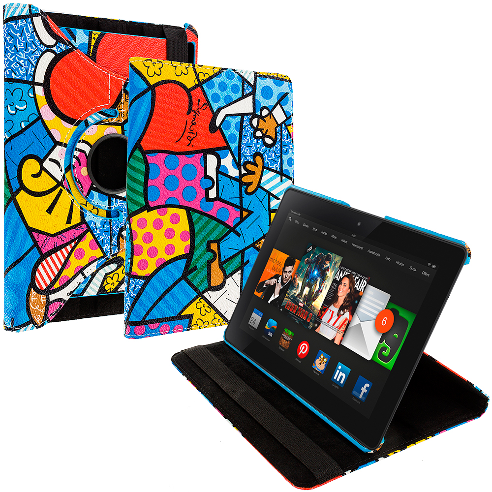 Amazon Kindle Fire HDX 8.9 Graffiti 2 360 Rotating Leather Pouch Case Cover Stand