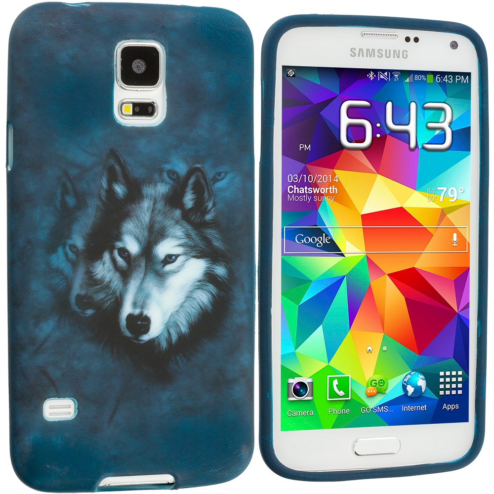 Samsung Galaxy S5 4 in 1 Combo Bundle Pack - Animals TPU Design Soft Case Cover : Color Wolf