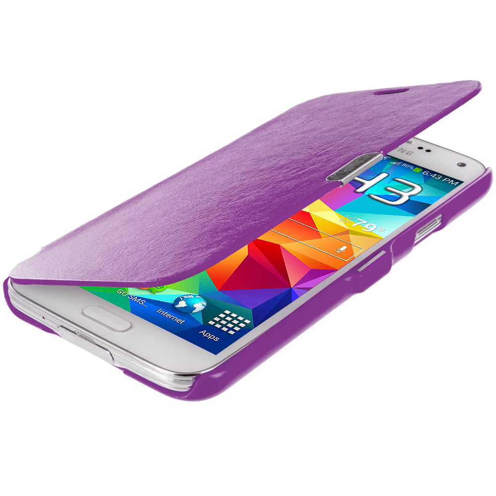 Samsung Galaxy S5 Purple Magnetic Wallet Case Cover Pouch