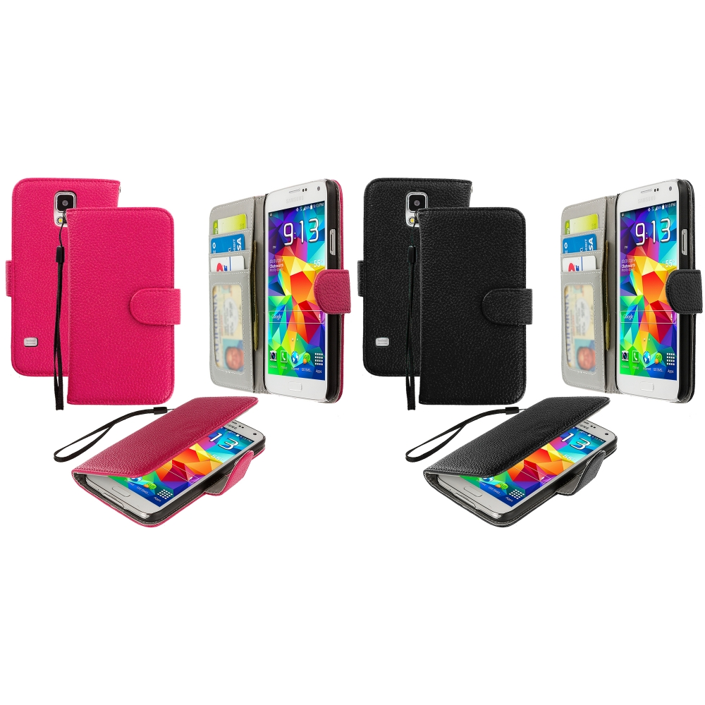 Samsung Galaxy S5 2 in 1 Combo Bundle Pack - Hot Pink Black Leather Wallet Pouch Case Cover with Slots