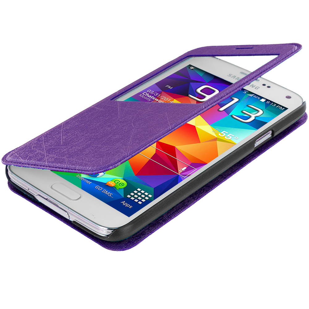 Samsung Galaxy S5 Purple (S-View) Magnetic Wallet Case Cover Pouch