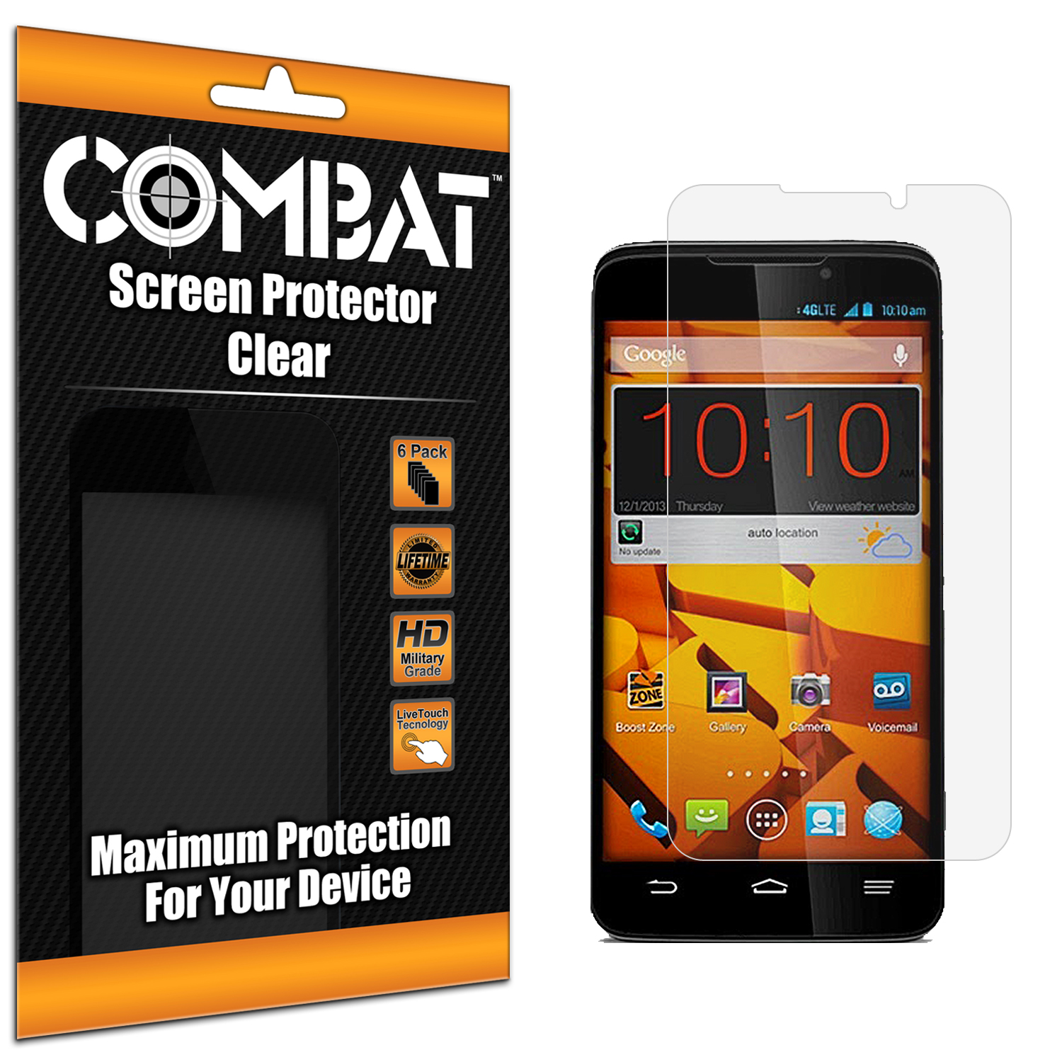 ZTE Boost Mobile Max N9520 Combat 6 Pack HD Clear Screen Protector
