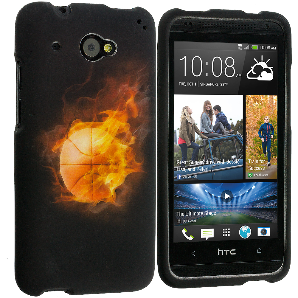 HTC Desire 601 Flaming Basketball 2D Hard Rubberized Design Case Cover