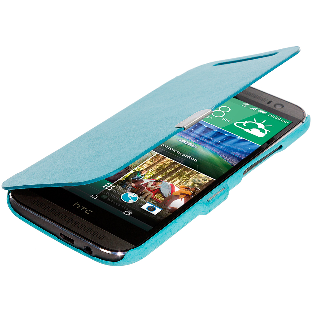 HTC One M8 Baby Blue Magnetic Wallet Case Cover Pouch