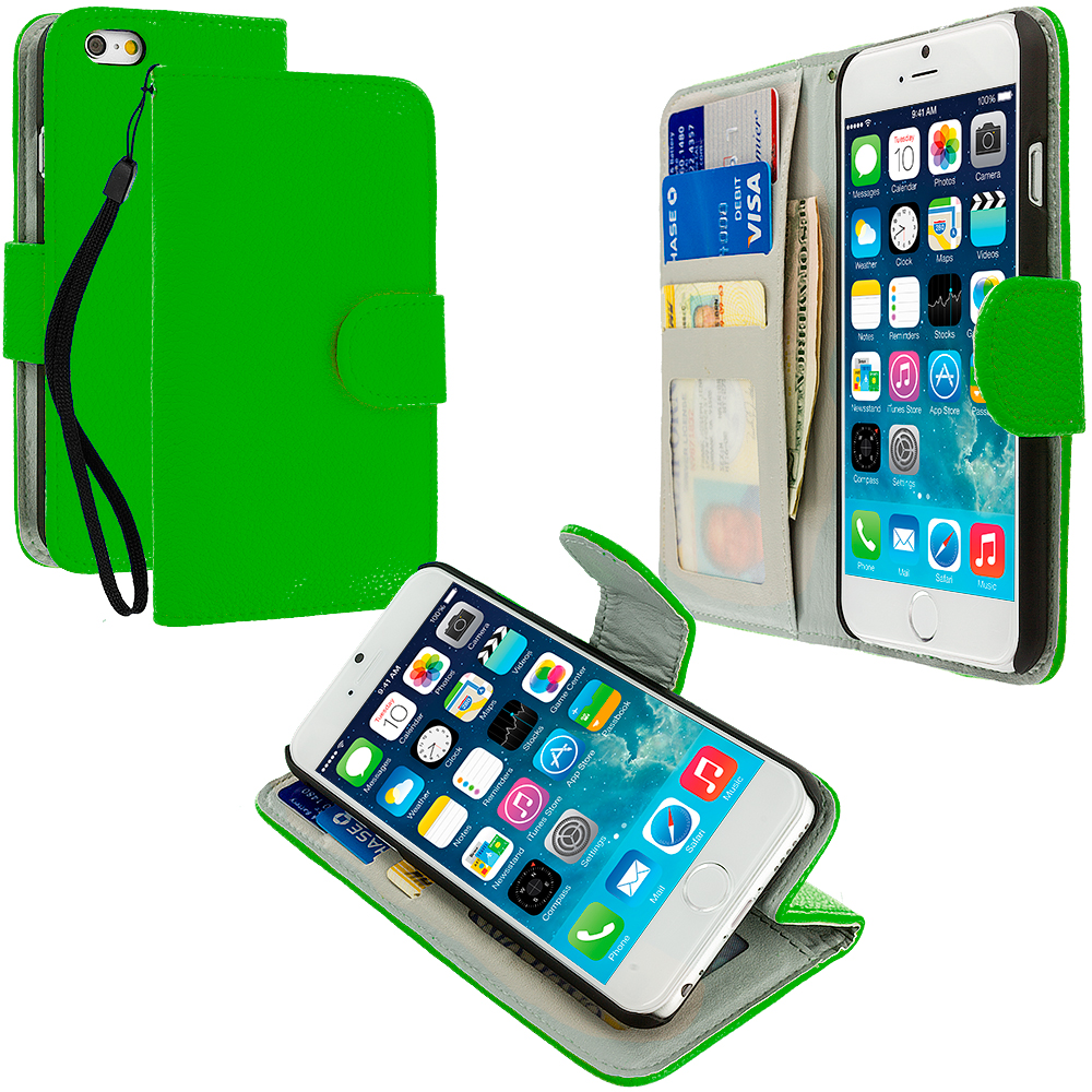 Apple iPhone 6 6S (4.7) 4 in 1 Combo Bundle Pack - Leather Wallet Pouch Case Cover with Slots : Color Neon Green