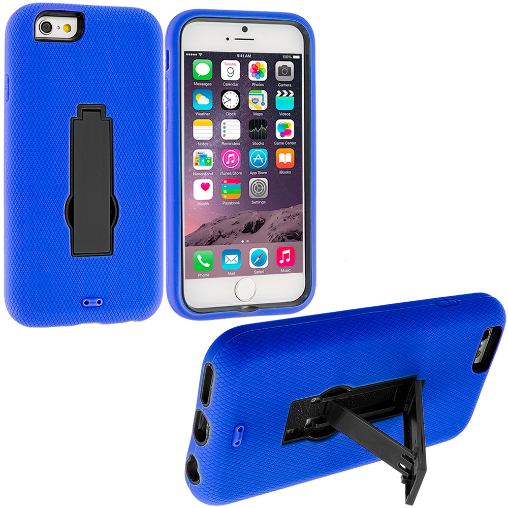 Apple iPhone 6 6S (4.7) 3 in 1 Combo Bundle Pack - Hybrid Heavy Duty Hard/Soft Case Cover with Stand : Color Blue / Black