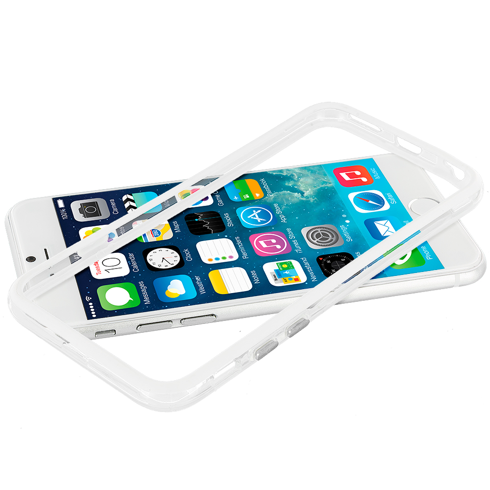 Apple iPhone 6 Plus 6S Plus (5.5) White / Clear TPU Bumper Frame with Metal Buttons