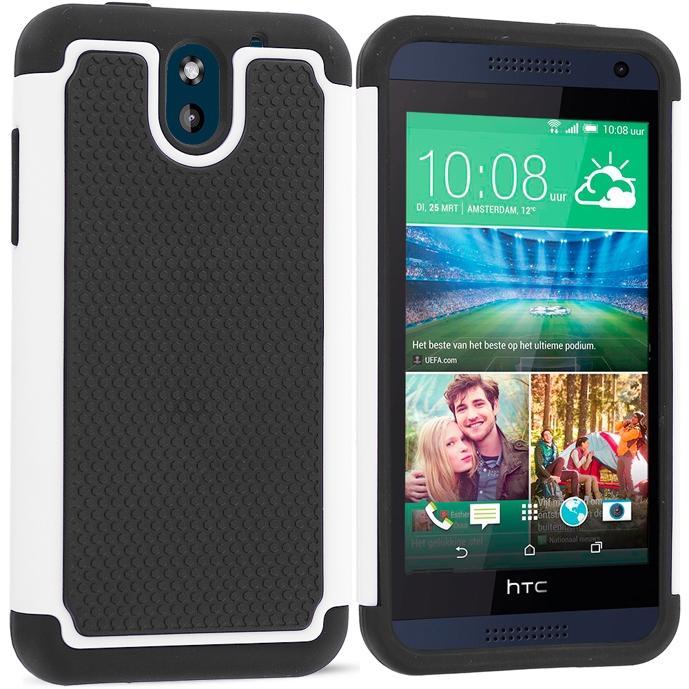 HTC Desire 610 Black / White Hybrid Rugged Grip Shockproof Case Cover
