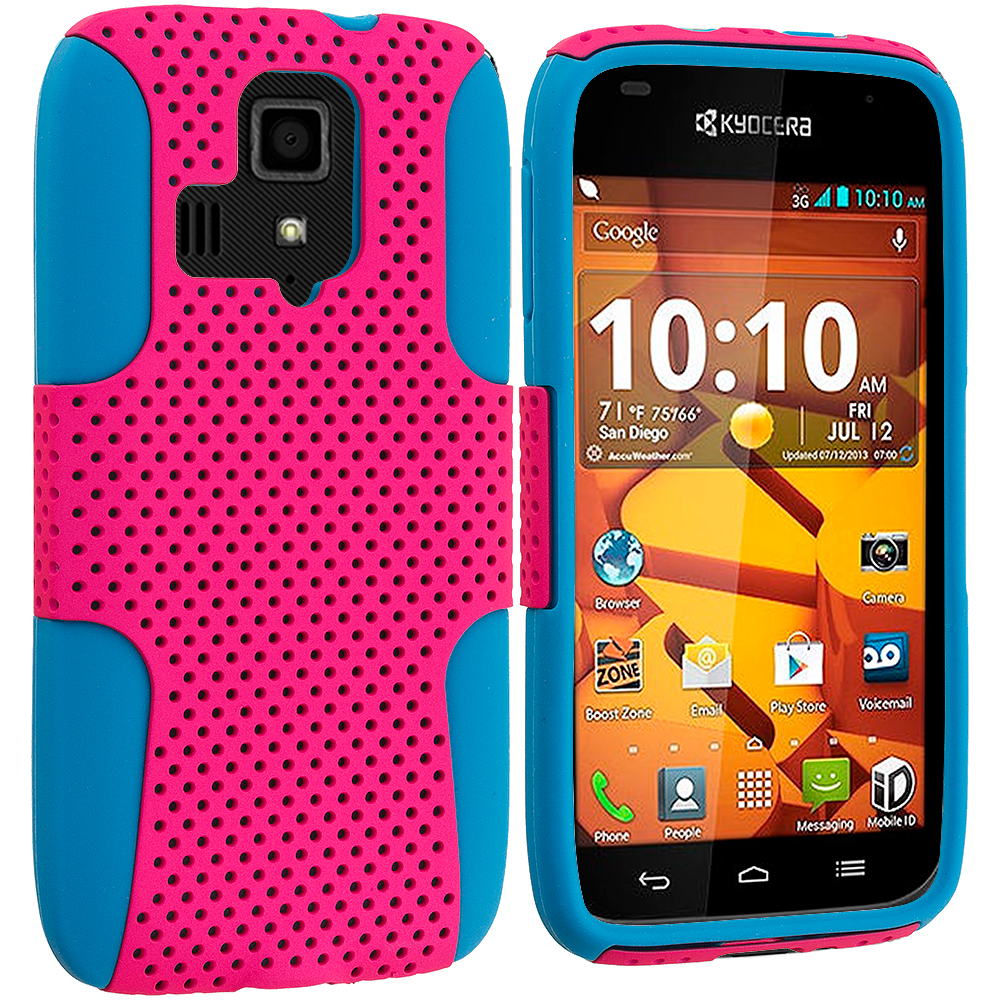 Kyocera Hydro Icon / Hydro Life Baby Blue / Hot Pink Hybrid Mesh Hard/Soft Case Cover