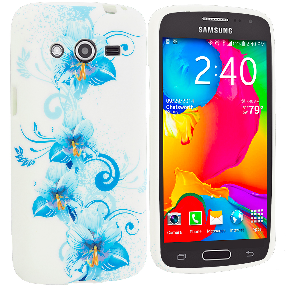 Samsung Galaxy Avant G386 Blue White FLower TPU Design Soft Rubber Case Cover