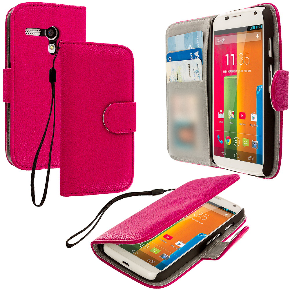 Motorola Moto G Hot Pink Leather Wallet Pouch Case Cover with Slots
