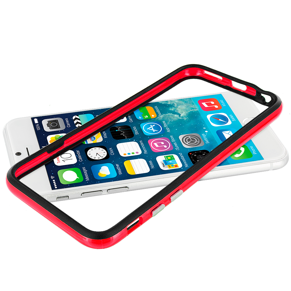 Apple iPhone 6 Plus 6S Plus (5.5) Black / Red TPU Bumper Frame Case Cover